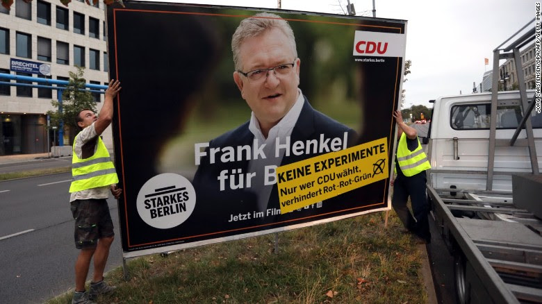 Berlin Christian Democrat Union candidate Frank Henkel saw his party slump to just 17.5% of the vote.