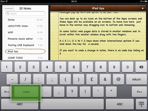 iPad Notes Undo Key