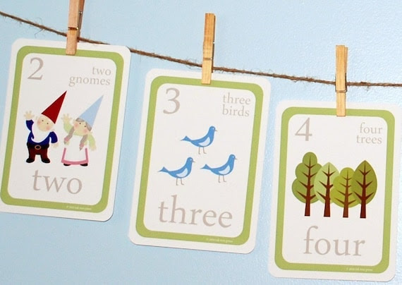 Woodland Counting Wall Cards - 4x6 - Archival Giclee Art Cards