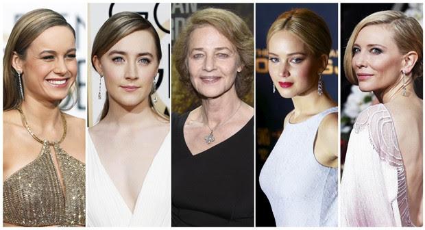 Nomeadas ao Oscar 2016 de melhor atriz: Brie Larson ('O Quarto de Jack'), Saoirse Ronan ('Brooklyn'), Charlotte Rampling ('45 Anos'), Jennifer Lawrence ('Joy'), Cate Blanchett ('Carol'). (Foto: Reuters)
