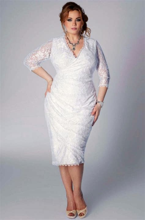 Plus Size Wedding Dresses for Second Marriage 3/4 Sleeves