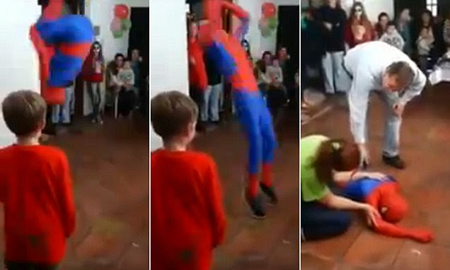Someone's Spidey Sense wasn't working! Incompetent party performer knocks himself out with