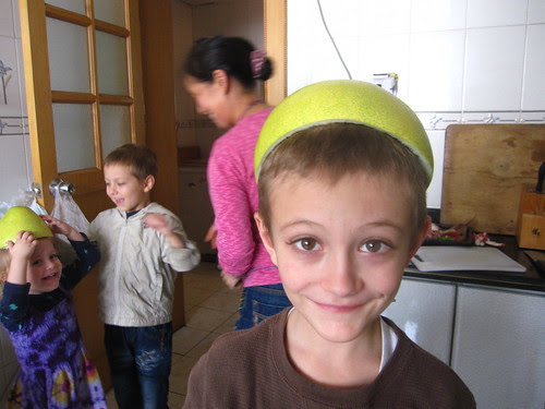 X with pomelo hat