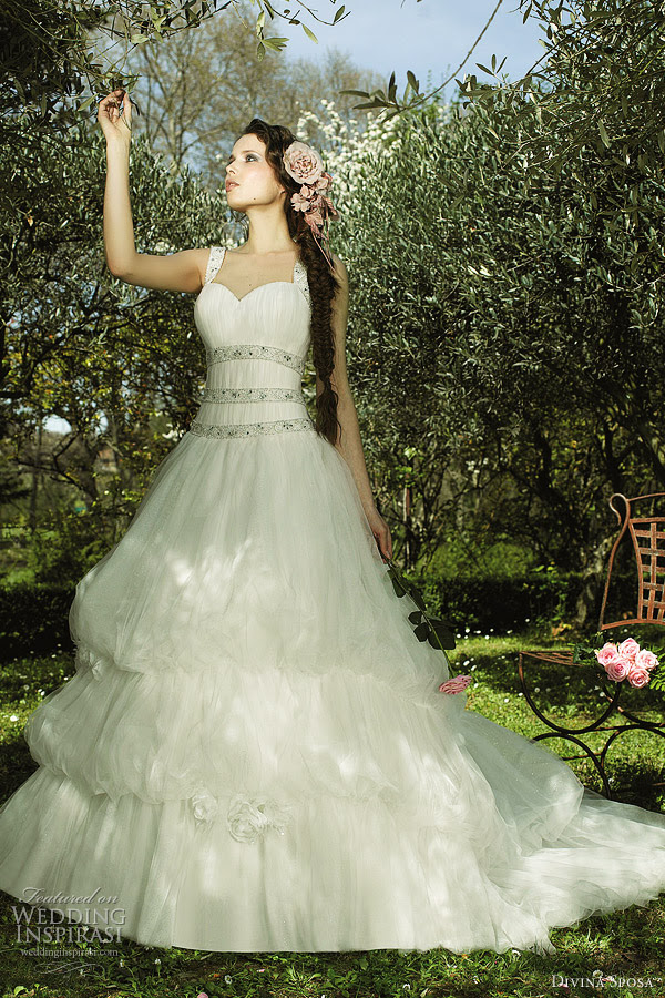 Gown with threetier bubble skirt divina sposa