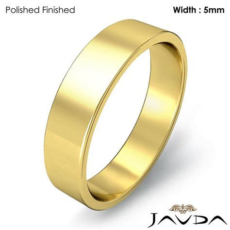Flat Pipe Cut Ring 5mm Men Plain Wedding Band 14k Yellow
