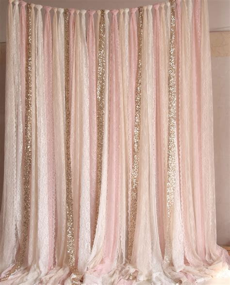 Blush pink white Lace fabric Gold Sparkle photobooth