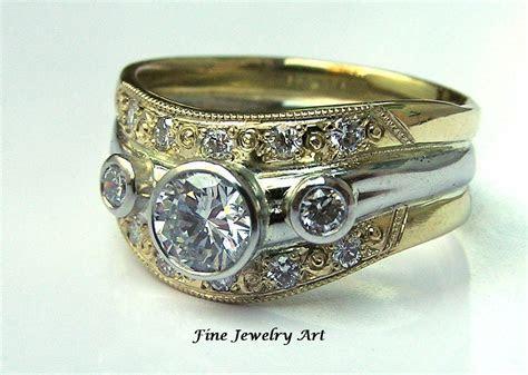 Hand Crafted 18k Gold & Platinum Diamond Wedding Ring Band