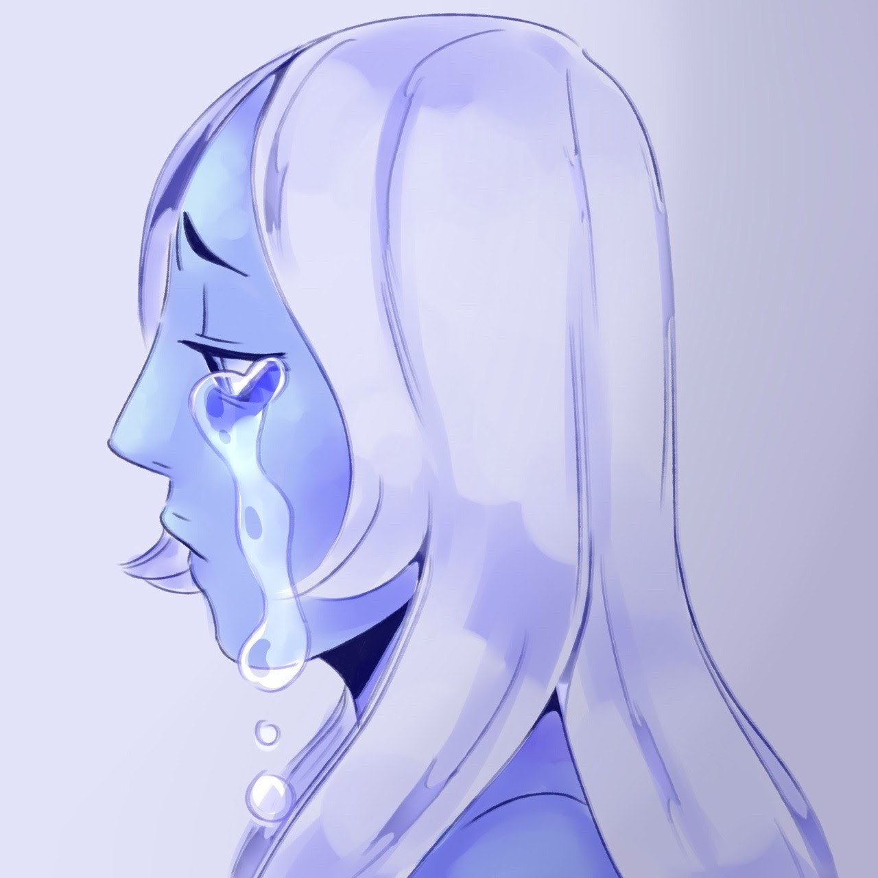 quick doodle of a sad blue