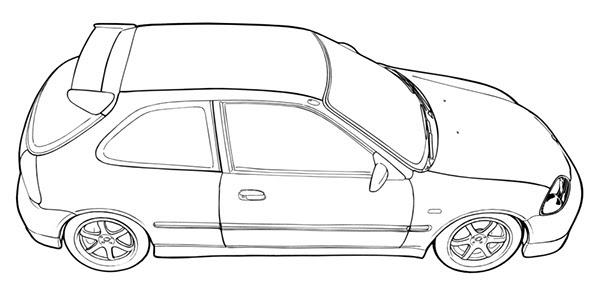 How To Draw A Honda Civic Type R - Honda Civic