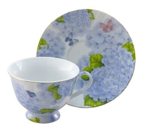 Blue Hydrangea & Butterfly Tea Cup and Saucer Set