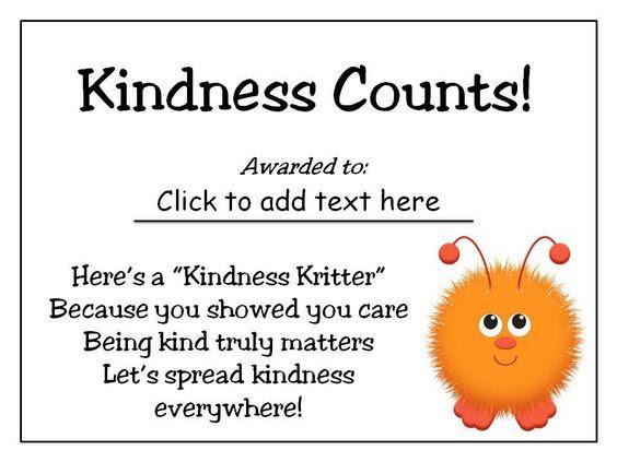 Kindness Counts Award - Good Character Traits | Student