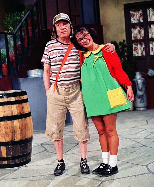 Bolaños e María Antonieta como os personagens Chaves e Chiquinha (Foto: Reprodução)