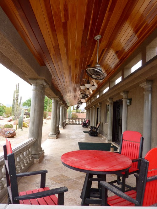 Patio with Cement Columns and Redwood Ceiling