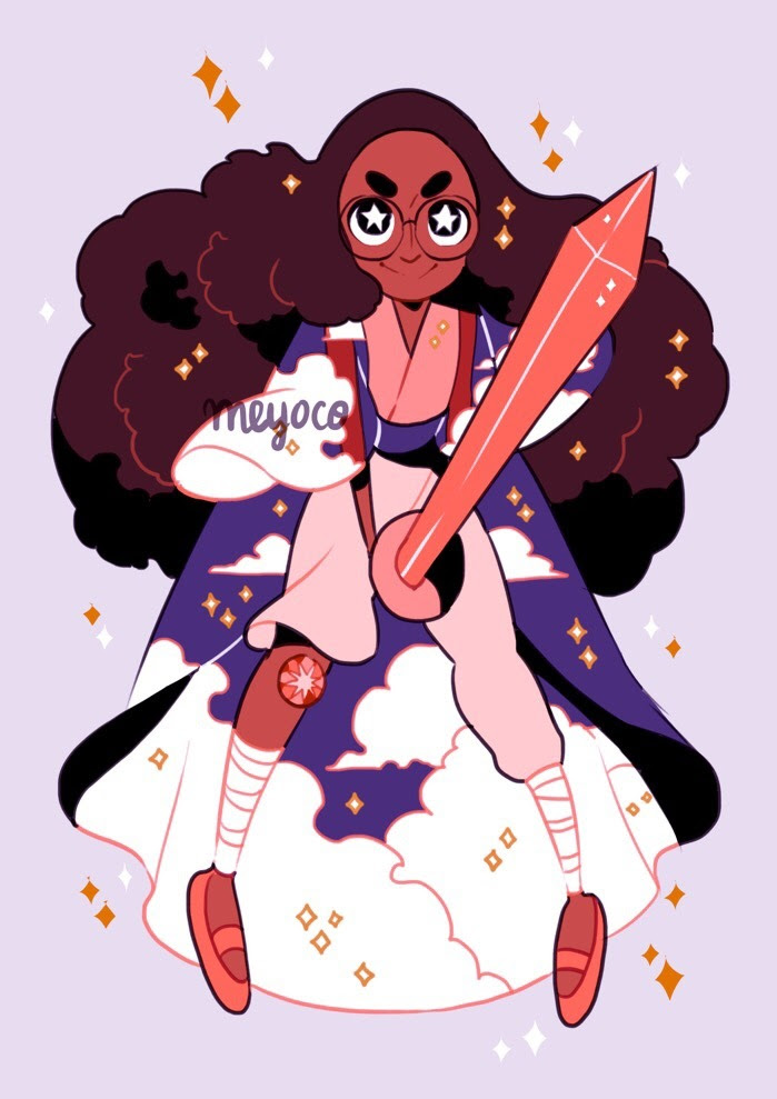 Imagined Connie as a young gem warrior! Her gem is a sunstone! ☀️