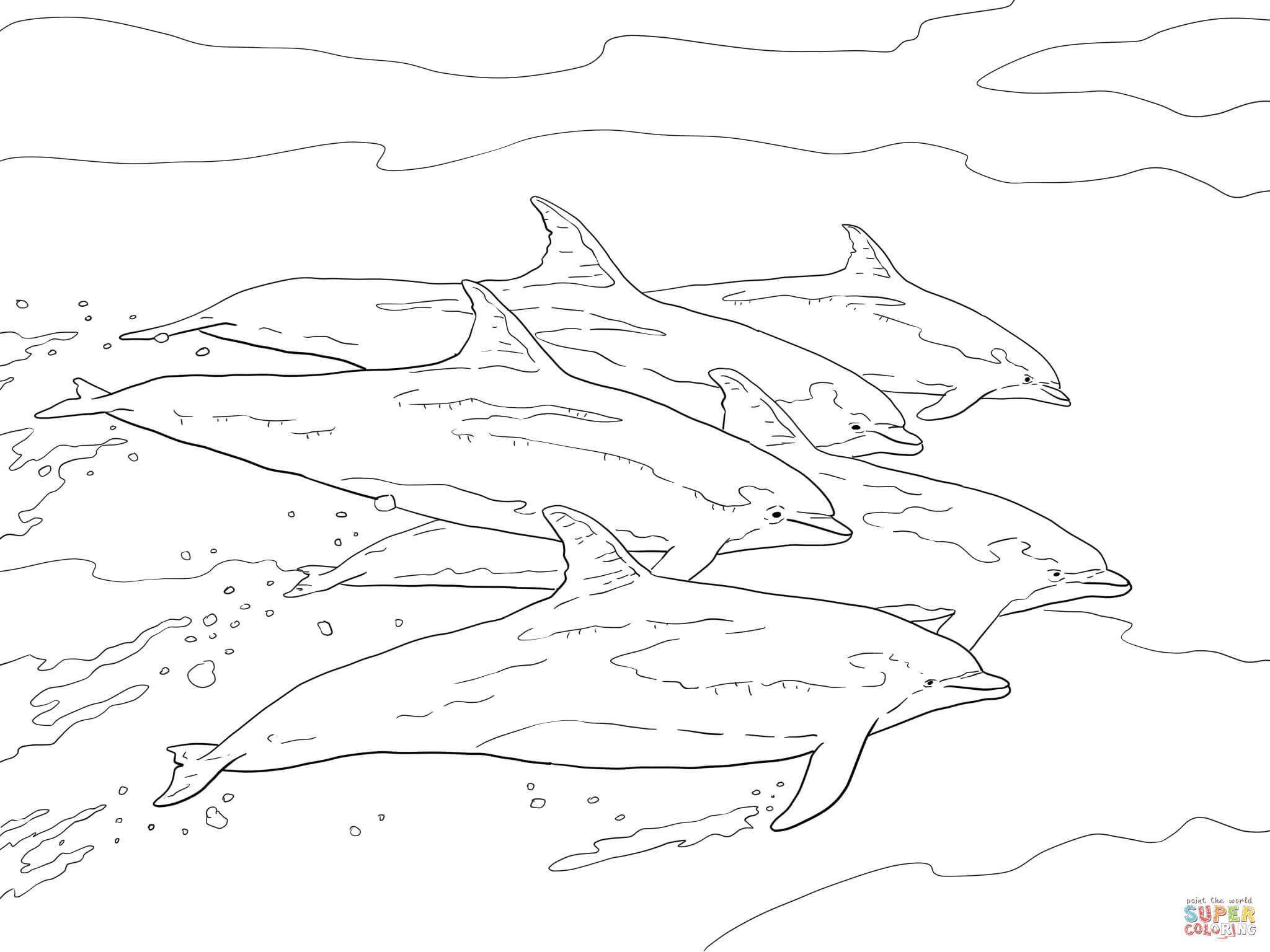 Bottlenose Dolphins School coloring page   Free Printable ...