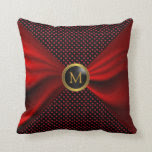 Monogram Dark Red Satin & Black Polka Dots Throw Pillow