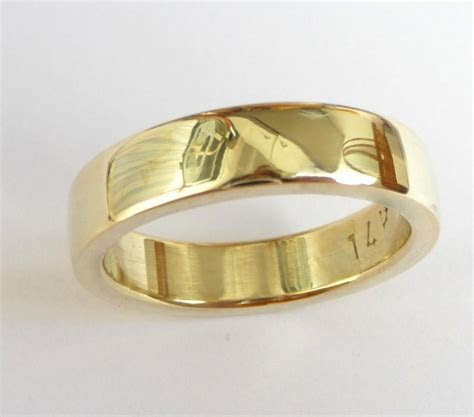 Mens Wedding Band Men's Gold Ring Men Wedding Ring Thick