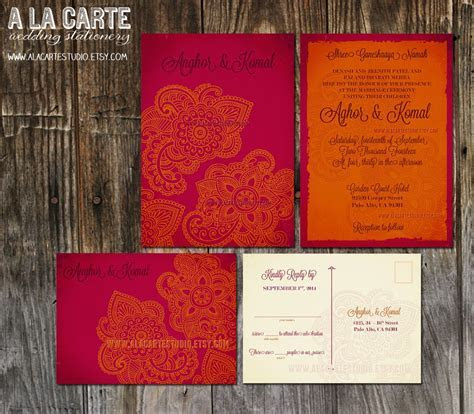 Indian Style Wedding Invitation and RSVP cards (for my