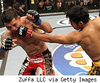 Nam Phan punches Leonard Garcia at The Ultimate Fighter finale.
