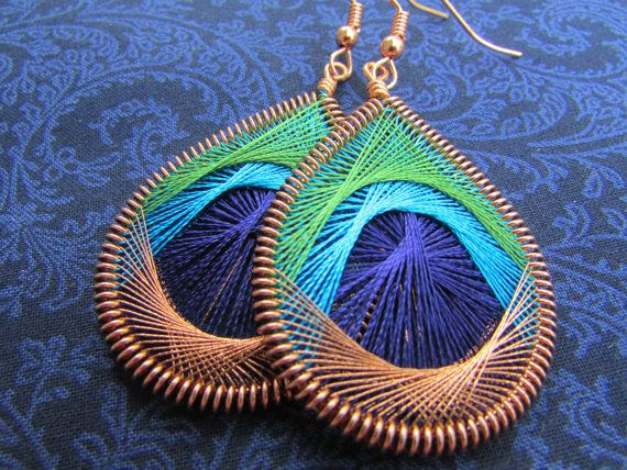 Peacock Feather Earrings - Large - Olive Green, Bright Blue, Dark Blue & Copper Feather Jewelry
