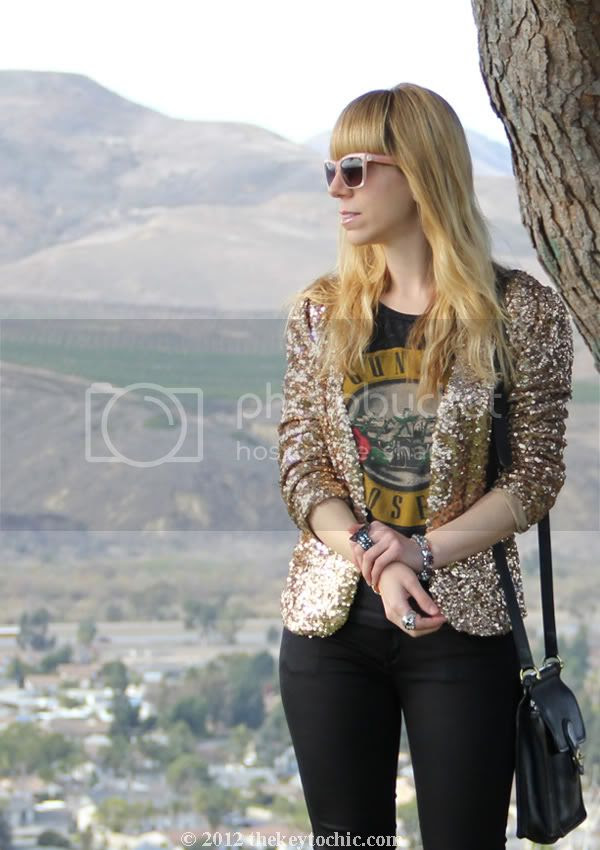 gold sequin jacket, James Jeans Couture Collection, vintage Coach bag, Los Angeles fashion blogger