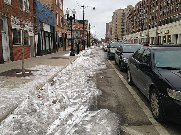 Uptown's Broadway protected bike lanes were an arctic wasteland last week. - JOHN GREENFIELD