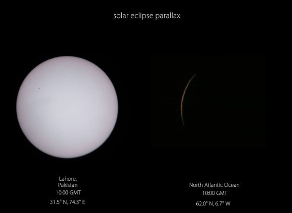 Parallax in action: the view from Lahore Pakistan vs Slooh's view shortly before totality. Credit: Roshaan. Lahore Astronomical Society, Pakistan.