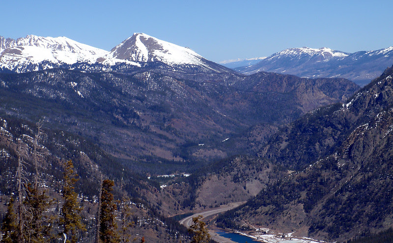 Looking north from high up Copper Mountain Ski Area at the I-70 corridor, Colorado.