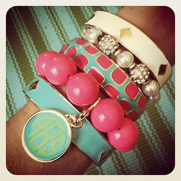 So pretty and we have all these available in store !  Spade Braclets $20  Monogram Bead Braclet