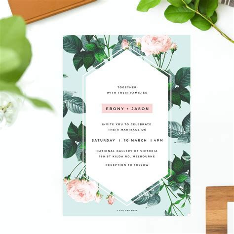 Floral Rose Mint Green Pastel Wedding Invitations   Modern