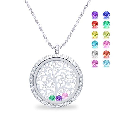 Family Tree of life Screw Floating Charm Living Memory Locket Pendant, Stainless Steel Toughened Glass Birthstone Crystal Necklace (Diamond)