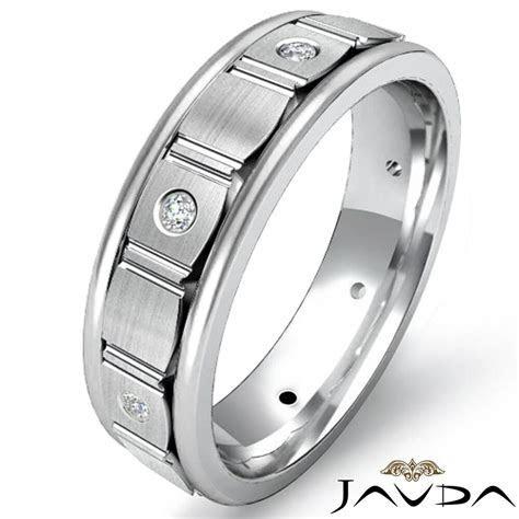 Round Diamond Eternity Wedding Ring Center Brush Mens Band