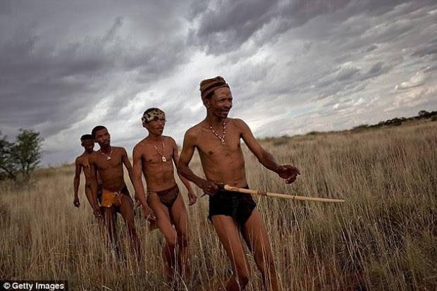 Grupo de cazadores-recolectores bosquimanos, desierto del Kalahari, África.
