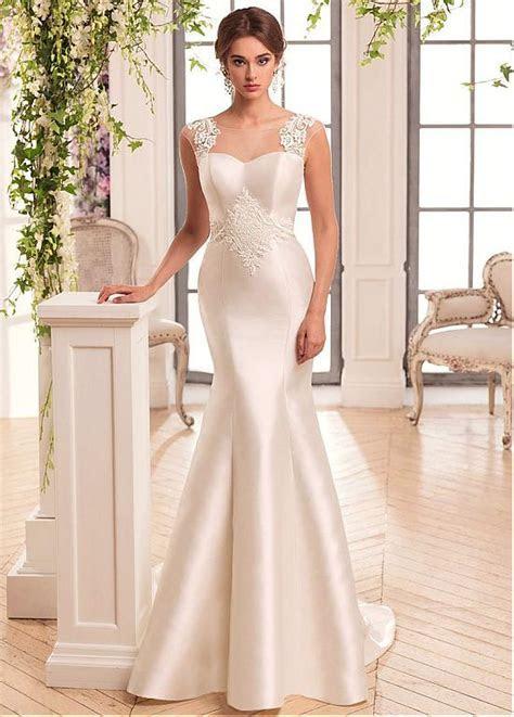 Glamorous Tulle & Satin Mermaid Wedding DressWith Lace