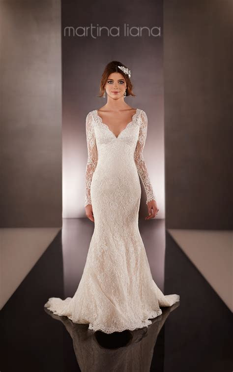 Lace Over Silk Long Sleeve Wedding Dress   Martina Liana