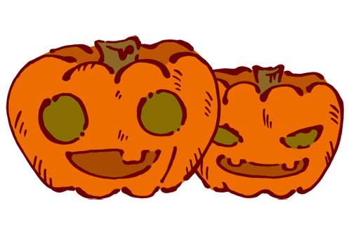 フリー素材 ハロウィンのかぼちゃジャックオーランタンを