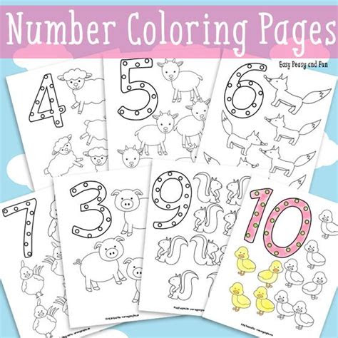 animals number coloring pages coloring easy peasy