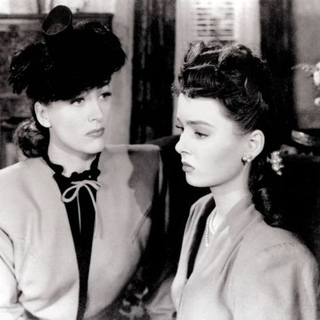 Joan Crawford and Ann Blyth as Mildred and Veda in Mildred Pierce