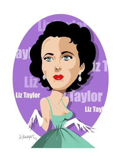 Cartoon: ELIZABETH TAYLOR -ACTRESS (medium) by donquichotte tagged liz