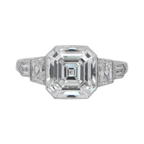 Vintage Asscher Diamond Ring   Estate Diamond Jewelry