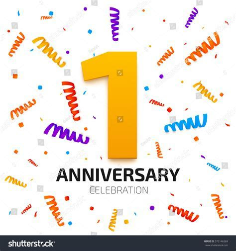 One Year Anniversary Banner 1 Year Stock Vector 573146269