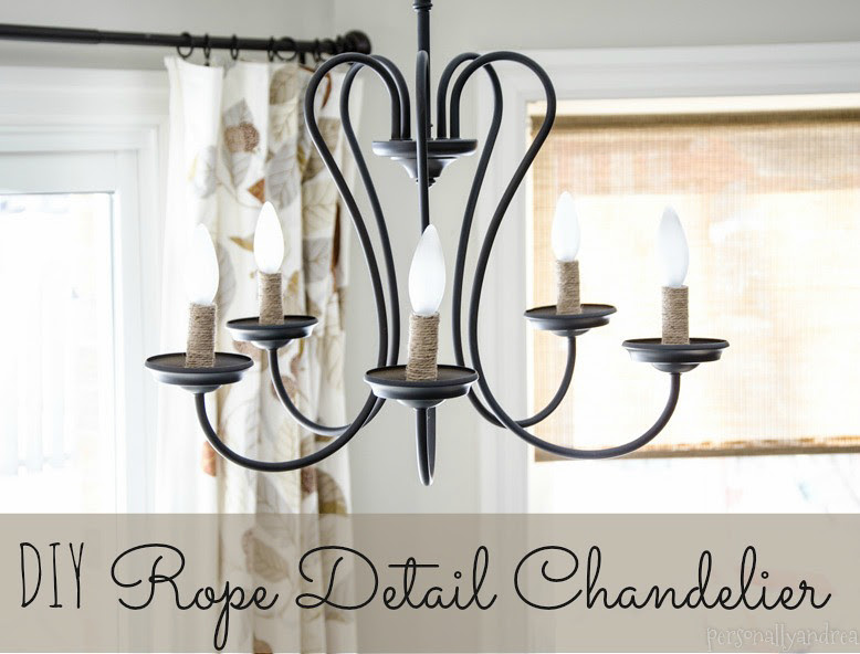 DIY Rope Detail Chandelier | Home Depot chandelier with twine wrapped blulb holders | personallyandrea.com
