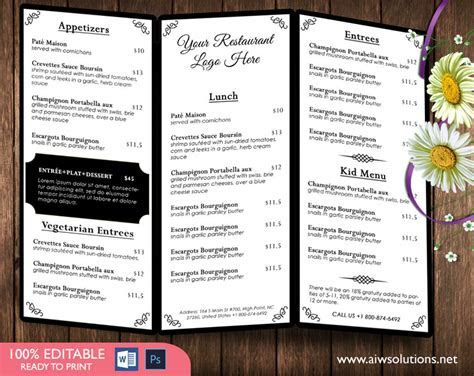 Design & Templates, Menu Templates ,Wedding Menu , Food