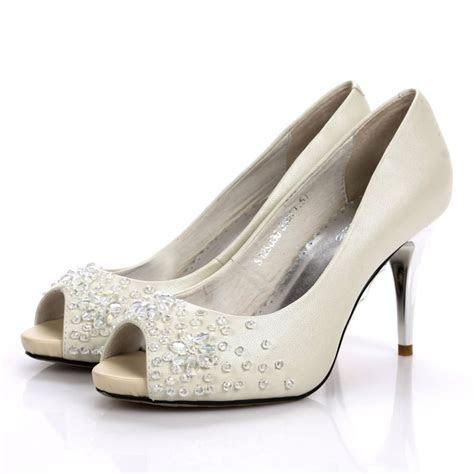 Stiletto Heel Rhinestone Peep Toes White Wedding Shoes