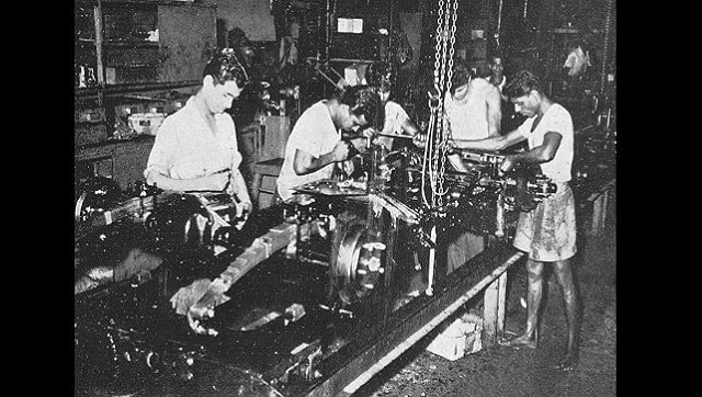 Willys Jeeps being assembled at the Mahindra & Mahindra plant, 1955.
