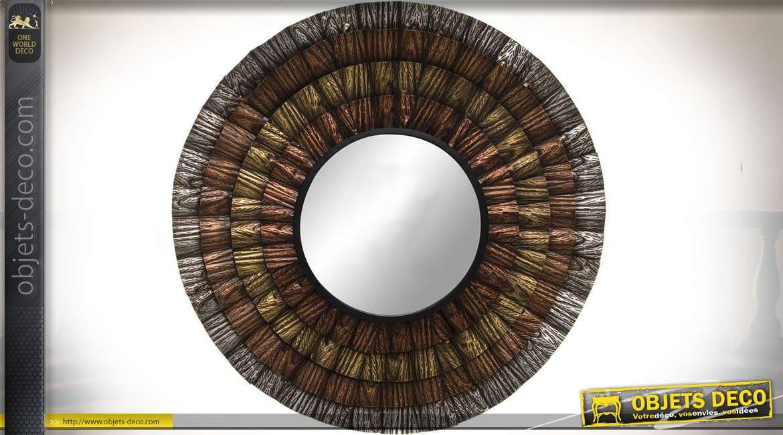 Miroir Rond Déco Murale Cercles Concentriques En Métal ø 90 Cm