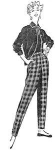 """Modelo de calça de lã e pulôver, publicado em 17 de abril de 1955, na """"Folha da Manhã"""""""