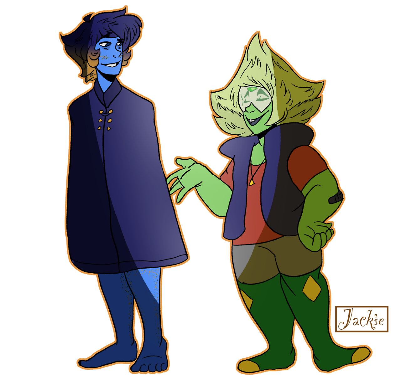 I drew Lapis and Peridot dressed up as Dipper and Wirt! Lapis refused to wear Wirt's hat and Dipper's hat didnt fit on Peri's head