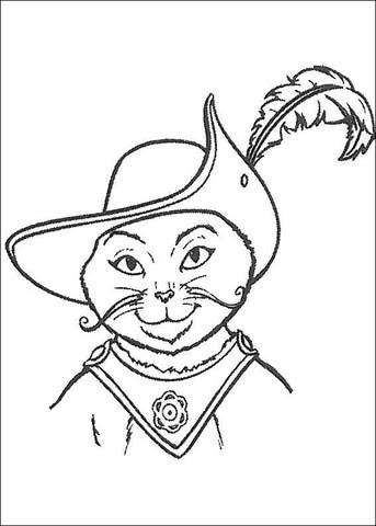 Dibujo De La Cara Del Gato Con Botas Para Colorear Dibujos Para