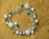 Mediterranean Charm Bracelet with Sterling Silver, Semi-precious Gemstones and Swarovski Crystal